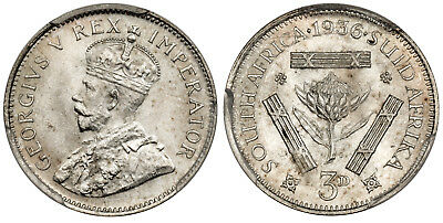 SOUTH AFRICA. George V. 1936 AR Threepence. PCGS MS64 KM 15.2
