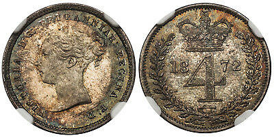 GR BRIT Victoria 1872 AR Maundy Set NGC MS65-MS66 KM-MDS125 Very attractive tone