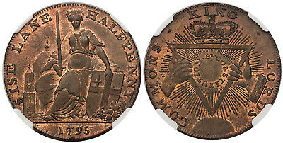GREAT BRITAIN. Middlesex. 1795 CU Halfpenny Token. NGC MS66RB. DH 295.