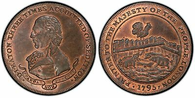 GREAT BRITAIN. Middlesex. 1795 CU Halfpenny Token. PCGS MS65RB Eaton DH 301.