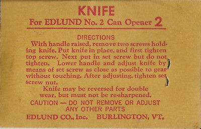 Edlund Co. Knife for No. 2 Can Opener FREE SHIP