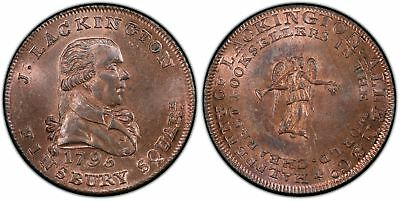 GREAT BRITAIN Middlesex 1795 CU Halfpenny Token. PCGS MS64+RB Lackington DH 358a