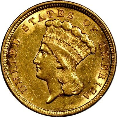 1854 $3.00 Gold Indian Princess XF/AU X2002 (will end 9/26/17)
