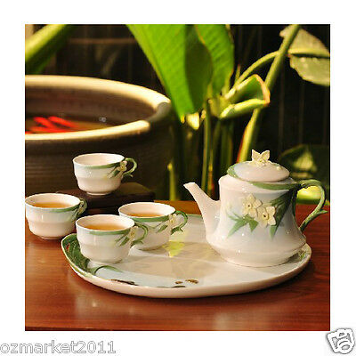 Fashion Classical Household Porcelain Tea Tray+White Pottery Teacup Tea Set 10