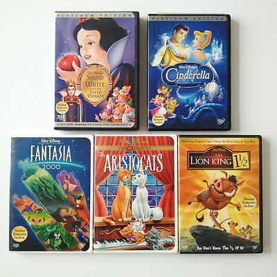 Disney Dvd's Lot Of 5 Platinum Edition Snow White Cinderella Fantasia Lion King