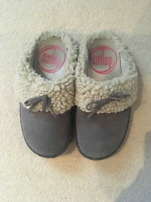 Fitflop The Cuddler Grey Suede Mule Slippers Size 5