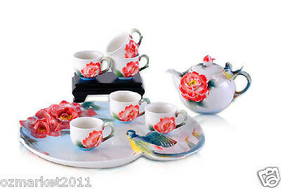 #1 Household Porcelain Flower Patter Tea Tray/Tea Pot/Teacup Tea Set 8pcs