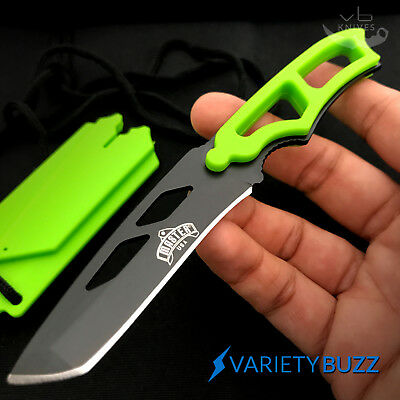 GREEN TANTO SURVIVAL NECK KNIFE Tactical Hunting Combat Fixed Blade + SHEATH NEW