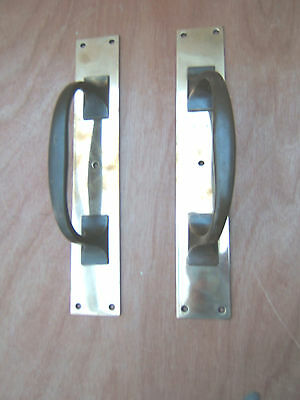 Pair Of Vintage Brass Bank Style Heavy Door Pull Handles On Brass Backplates