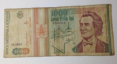 Dated : 1993 - Romania - 1000 Lei - Banknote Paper Money