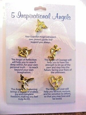 Set of 5 gold colour angel lapel pins/ brooches. Inspirational angel pins.