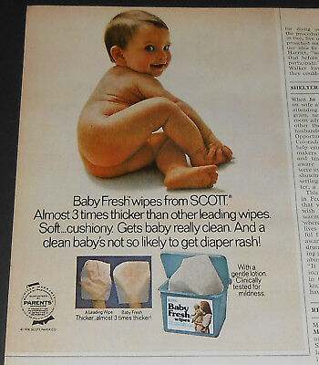 1977 vintage print ad - BABY FRESH WIPES - BOY GIRL - 1/2-PAGE ADVERT naked nude