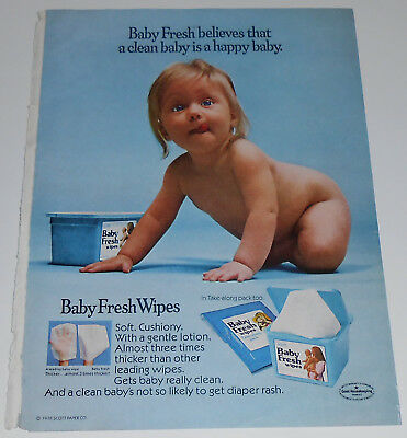 1978 vintage print ad - BABY FRESH WIPES - BOY GIRL - 1-PAGE ADVERT naked nude