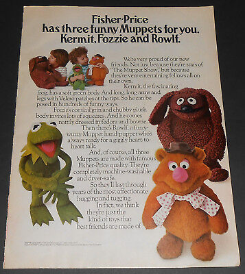 1977 vintage ad - FISHER PRICE TOYS - MUPPETS - KERMIT ROWLF - 1-PAGE PRINT AD