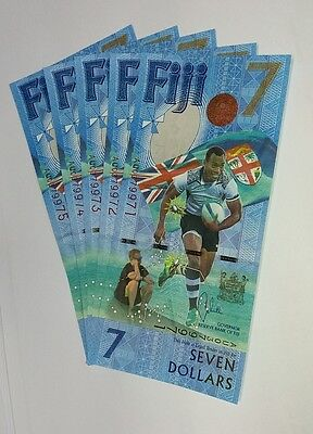 Fiji 2017 - First-Ever Odd Value $7 Seven Dollars Notes X5 Five Seq Numbers Unc