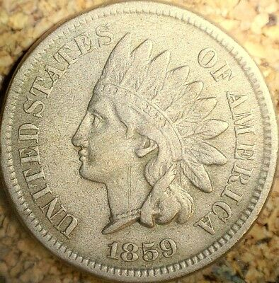 1859 Indian Head Cent (CN) - ATTRACTIVE FULL LIBERTY VF++ Old Cleaning  (G841)