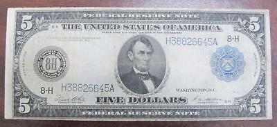 1914 $5 Large Note * Federal Reserve Note * St. Louis Missouri * Cool Note