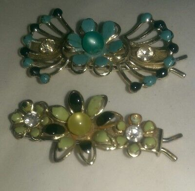Lot of 2 Vintage 1950's Metal/Enamel/Rhinestone BARRETTES