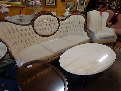 vintage full size couch/sofa clean tufted back 3 cushions