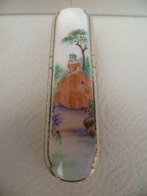 A  Antique Solid Silver  Decorative Guilloche  Enamel  Brush Dated 1947