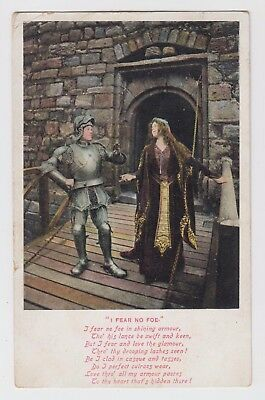 "POSTCARD - song card ""I Fear No Foe"" medieval couple romance, suit of armour"