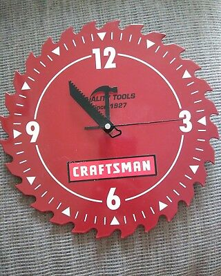 Red Craftsman Tools Saw Blade Wall Clock Man Cave Tool Shed Dad's Gift #