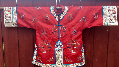 Qing Dyn. Chinese Hand Embroidered Antique Red Silk Robe Textil Forbidden Stitch