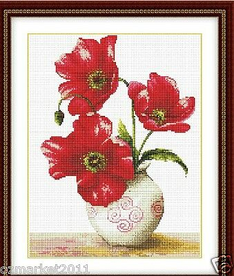 Flowers Decoration L33*Width 43CM Cross-Stitch In Full Bloom Of Corn Poppy  !)
