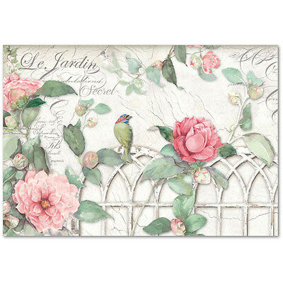 1 Blatt Decoupage Papier Reispapier DFS367 Gate with roses and bird  Stamperia