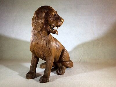 Dog beautifully Hand Carved From Mahogany Wood With A lot Of Details (new)
