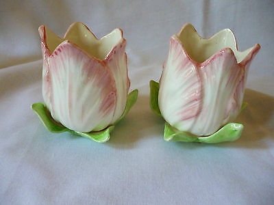 Pair Of Rare Fitz & Floyd Tulip Garden Pink Tulip Blossom  Candle Holders