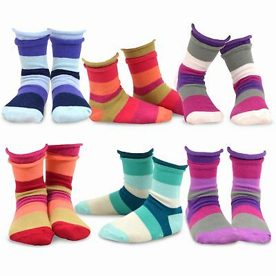 Socks for Kids Girls Cotton Crew Basic Roll Top 6 Pair Pack 6-8Y, Indian Stripe