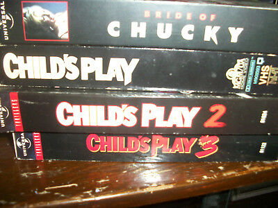Child's Play VHS Movies Lot 1, 2, 3 and 4
