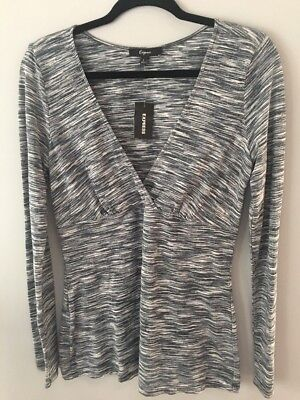 NWT...Women's Knit Top Shirt... Express... Black and Gray... Size L Large