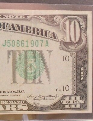 1934 A $10 Federal Reserve Note <J KANSAS CITY> F-2006J GREEN SEAL UNCIRCULATED