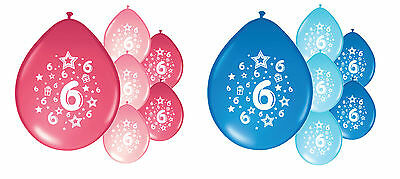 10 x 6th BIRTHDAY PARTY BALLOONS PINK MIX / BLUE MIX GIRL / BOY DECORATIONS (PA)