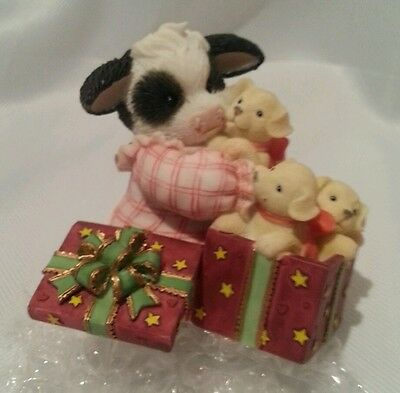 Mary's Moo Moos Cow The Greatest Gift Is Family W/ Puppies Figure Figurine - New