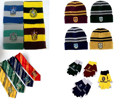 Harry Potter Scarf Hat Gloves Tie Gryffindor Hufflepuff Ravenclaw Slytherin UK