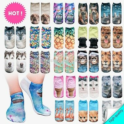 socks low cut unisex 3D socks one size stretchy funky animal Donuts Cat quirky