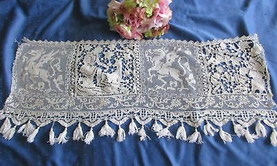 Superb Antique Hand Made Lace/embroidered Panel~Filet~Richelieu~Tassels~Mythical