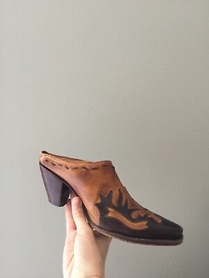 VINTAGE leather western mules size 6.5 free people inspired