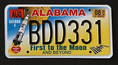 "ALABAMA "" FIRST to the MOON ... SATURN V ROCKET "" AL SPECIALTY License Plate"