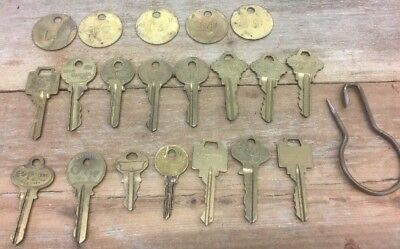 Vintage Brass Keys Lots 15 And Tags Lot Of 5