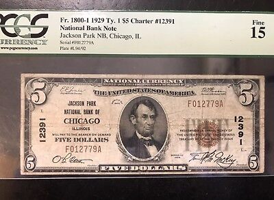 $5 Jackson Park National Bank-Chicago, Illinois-1929 National Currency - 12391