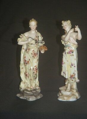 Antique German Porcelain Figurines 2 Women Opera & Dancing