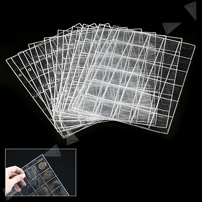 10 Sheet Plastic Coin Wallets 30 Pocket Holders Storage Collection Album Pages