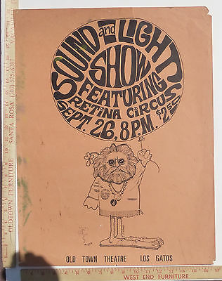 Retina Light Show Almost Concert Poster Los Gatos Southbay CA Jerry Garcia? 1968