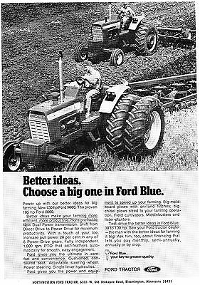 1971 Print Ad of Ford 9000 & 8000 Farm Tractor