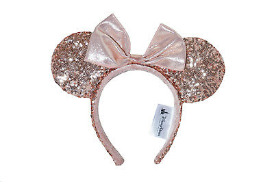 Minnie Rose Gold Sequined Ears Authentic Disney Parks Headband IN HAND - NEW