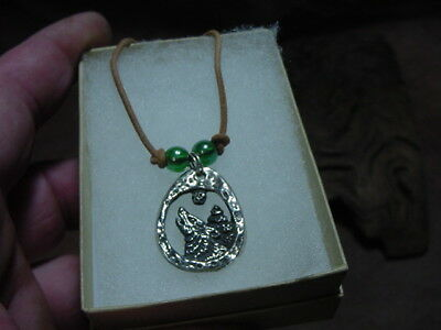 howling WOLF scene solid silver necklace Wolves alpha timber charm totem canine